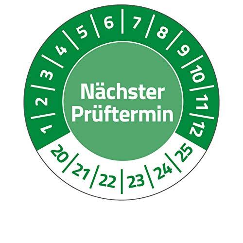 AVERY Zweckform 6990-2020 fälschungssichere Prüfplaketten Nächster Prüftermin 2020-2025 (stark selbstklebend, Kleinformat, Ø 30 mm, 80 Aufkleber auf 10 Blatt) grün