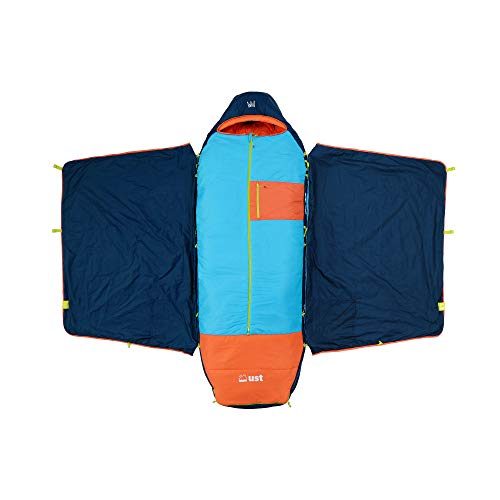 ust monarch sleeping bag with temp control, heavy duty construction, pillow option and carry case for camping, hiking, backpacking and outdoors - short
