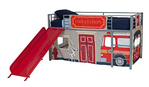 DHP Junior Silver Metal Loft Bed with Red Slide and Fire Department Curtain Set,...