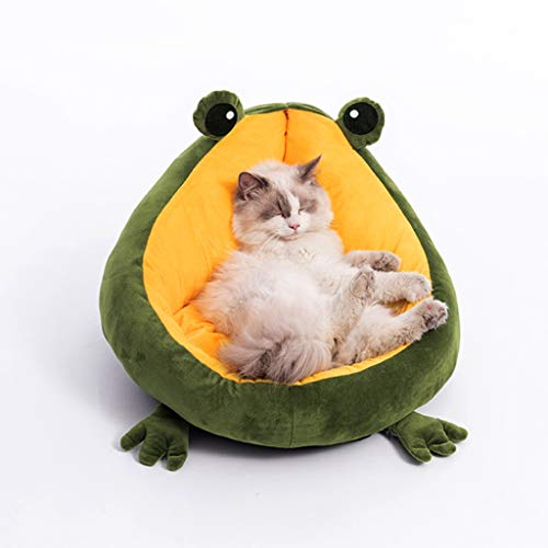 Vudifo Pet Cat Bed Indoor Frog Cat and Dog Cushion Bed Anti-Slip & Water-Resistant Bottom Machine Washable for Cats House Warm Small Dog Mat Portable Kitten Bed Soft Cute Sleeping Lounger Luxury