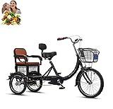 Triciclo Adulto Bicicleta de 3 Ruedas Scooter de Motor Humano Adulto de 16 Pulgadas con Carro de Asiento Trasero Compras Bicicleta cómoda, excursión, Ejercicio de Ocio