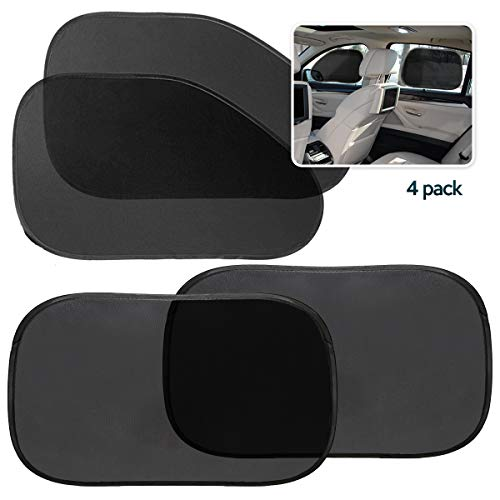 Zone Tech Side Window Cling on Sun Shades- 4-Pack Premium Quality Mesh Car Pop-Up Non Suction Cups Needed Sunshade- Protects Kids, Baby and Pets from Sun, Glare and UV Rays-Perfect for Car, Van, SUV