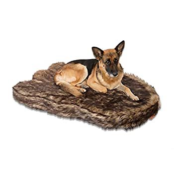 Laifug Large Faux Fur Dog Bed,5-inch Thick Grade Orthopedic Memory Foam Dog Bed 50 x30 x5   ,Removable Cover with Anti-Slip Bottom,Waterproof Liner