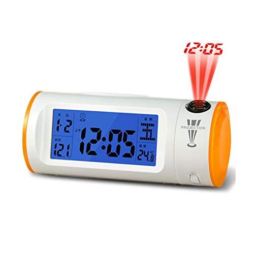 Écran LED Projection moderne LED Réveil électronique Fonction Snooze Deux réveils Son Minuterie (Color : Orange)