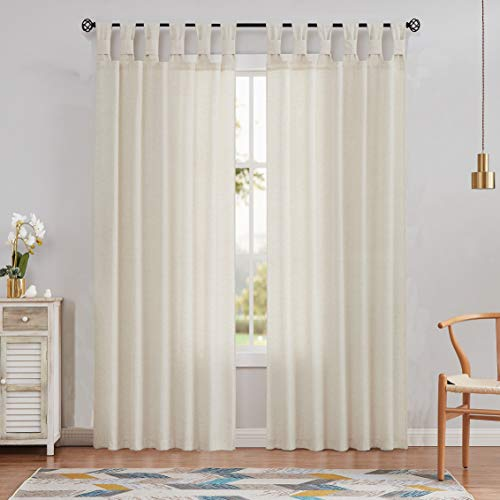 Amzdecor Linen Tab Top Curtain Panel Semi Sheer Twist with Extra Length-Adjusted Iron Tape Decorative Farmhouse Window Drape for Rustic Living Room, Bedroom and Dorm,52''x84'',Natural(1 Panel)