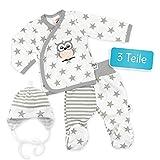 Makoma Baby Set Wickelshirt + Hose + Mütze weiß-grau | Motiv: Eule Sterne | Babyset 3 Teile mit Sternmotiv für Neugeborene & Kleinkinder | Größe: 1 Monat (56)