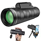 Monocular Telescope, Weton 40X60 High Definition Telescope with Smartphone Holder & Tripod, Low Night Vision Waterproof Zoom Telescope with Compass, Ideal for Wildlife Hunting Bird Watching