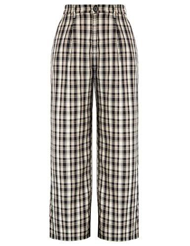Women's Tartan Plaid Pants Elastic High Waist Work Office Trousers with Pocket