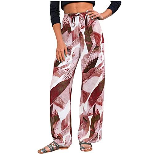 XWANG Pantalones de verano para mujer, estilo harén, para el tiempo libre, estampados, estilo bohemio, para la playa, para el tiempo libre, para correr, etc., 14-rojo, M