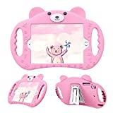 pzoz Case Compatible for iPad Mini Case for Kids Shockproof Silicone Handle Stand Proof Boys Bear Cover for Apple iPad Mini 1st Generation Gen 7.9 1 2 3 4 Model A1432 A1455 A1489 A1490 A1538 (Pink)