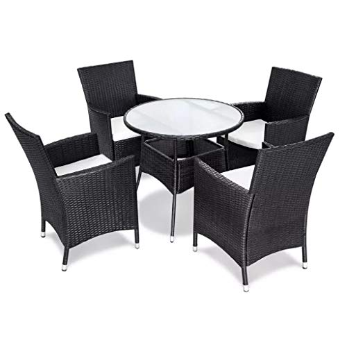WENXIA Garden Furniture Black Wood 5 Piece Garden Dining Set and Cushions Black Synthetic Rattan Dining Set