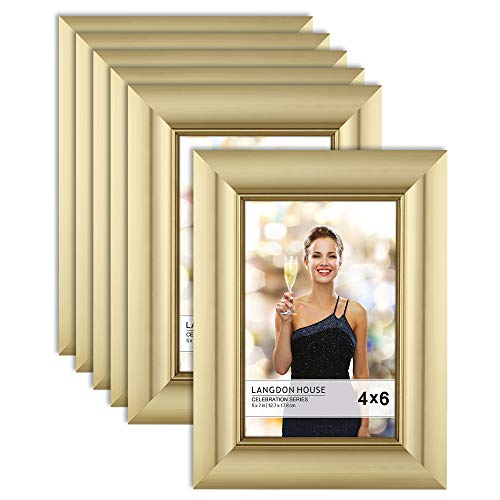 Langdon House 4x6 Picture Frame (6 Pack, Gold), Gold Photo Frame 4 x 6, Wall Mount or Table Top, Celebration Collection
