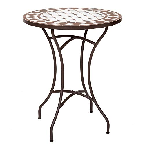 Mesa de Comedor Mosaico para Exterior de cerámica y Hierro Blanca, de ø 60x72 cm - LOLAhome
