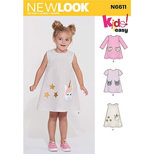 New Look N6611 Patrons et modèles de Couture, Papier, Blanc, 34-36-38-40-42-44-46