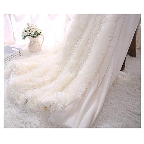 Arkey Zotteldecke aus Kunstfell, weich, lang, warm, elegant, gemütlich, flauschig, als Tagesdecke geeignet, Fleece, weiß, 130 x 160 cm