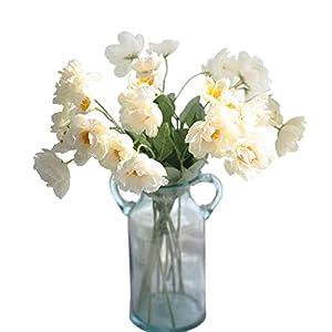 "cn-Knight Artificial Poppy Flower 12pcs 21"" Long Stem Silk Papaver with 2 Blossoms for Veteran Day Home Decor Centerpiece Housewarming Wedding DIY Bridal Bouquet(White)"