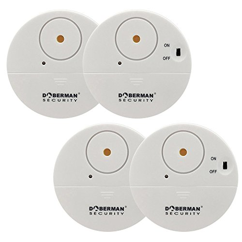 WOWSEA Ultra-Dünner Fensteralarm Glasbruchalarm Mini-Alarmanlage Aufkleber Alarmanlage mit Erschütterungssensor, Security Alarmsirene bis 100dB, 50m Reichweite Batteriebetrieb (4er Set, Weiss)