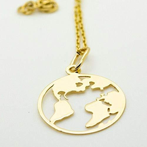Pargold 14-karaats gouden ketting met wereldbol-hanger, 585 goud gouden ketting dames met wereldhanger, dames hanger wereldbolmotief, lengte van de ketting 42 cm