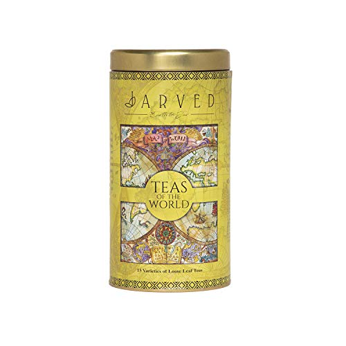 Jarved Teas of The World Gift Premium Tin Box-15 Teas from 10+ Countries   15 Loose Leaf Teas Earth to Jar