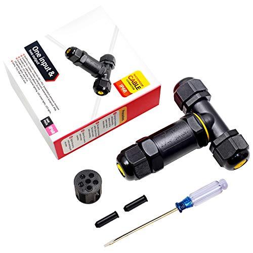 Verteilerdose IP68 Abzweigdosen Wasserdicht Kabelverbinder Klemmdose für Aussen T-Form 3-polig für Ø4-14mm Kabeldurchmesser