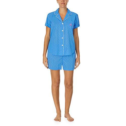 LAUREN HOME Pyjama kurz durchgeknöpft, IILN12055, Blue Dots, M