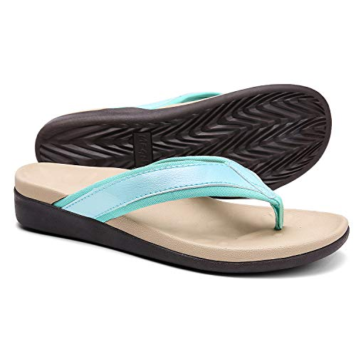 Diabetic Supportive Flip Flops for Women, Best Orthotic Sandals for Flat Feet/High Arch, Athletic Thong Style Sandals for Outdoor Activities Size 6
