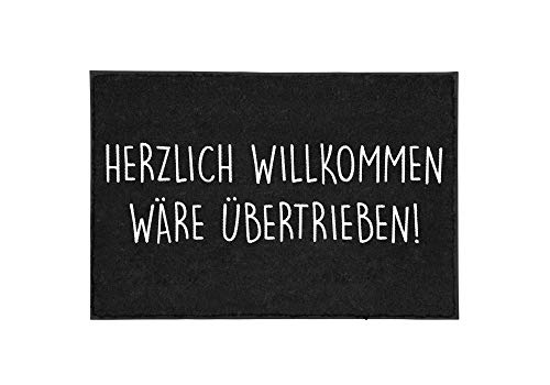 TassenTicker - Fußmatte mit Spruch - Herzlich Willkommen wäre übertrieben - lustig - innen & außen - waschbar - Geschenkidee - Dekoration