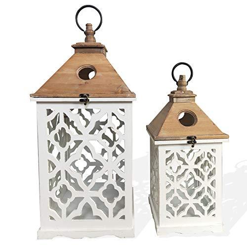 Rebecca Mobili theelichthouder set van 2 grote lantaarns van glas wit lichtbruin tuin woonkamer - afmetingen: 69 x 31 x 31 cm (hxbxd) - artikelnummer: RE6225.