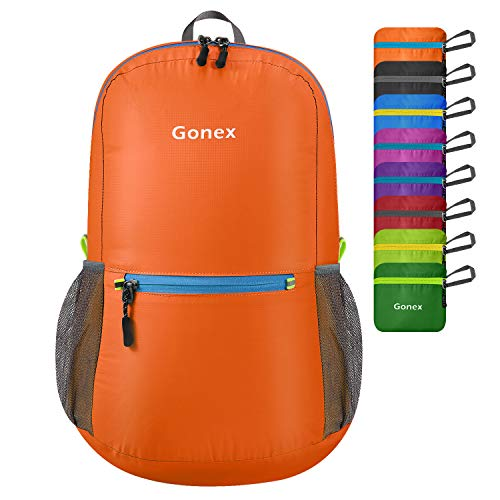 Gonex Ultra Lightweight Packable Backpack Daypack Handy Foldable Camping Outdoor Travel Cycling Backpacking(Orange)