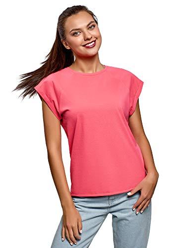 oodji Ultra Mujer Camiseta de Algodón Básica con Borde No Elaborado, Rosa, ES 38 / S