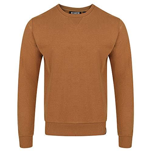 riverso Herren Pullover RIVPhillip Sweatshirt Basic Rundhals Sweater Pulli Langarm Regular Fit Einfarbig Braun 3XL, Größe:3XL, Farbe:Tawny Brown (21300)