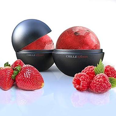 Chillz Extreme Ice Ball Molds - Original & Best Ice Barware Tool Set - 4 Ball Capacity Mold - Makes 2.5 Inch Large Whiskey Ice Balls (Set of 4)