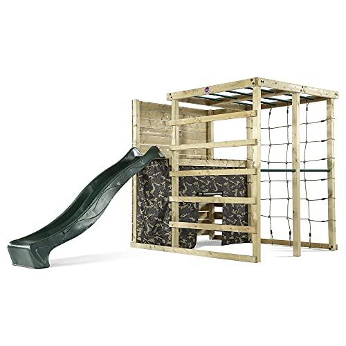 Plum Kletterwürfel, Spielcenter aus Holz, mit Kletterwand, Höhle und Rutsche