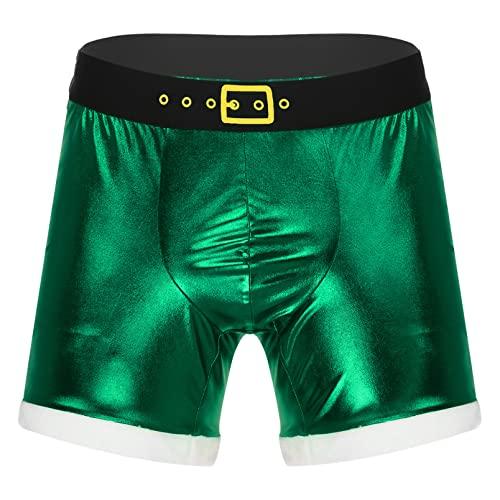 dPois Herren Glänzende Boxershorts Weihnachten Slip Ouvert Unterhose Briefs Trunks Offener Schritt Sexy Unterwäsche Weihnachtsmann Kostüm Grün M