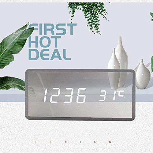 MingXinJia Relojes de Cabecera para el Hogar Reloj Despertador con Espejo de Madera Led, Temperatura Multifuncional / 3 Grupos de Alarma/Control de Voz/Reloj Electrónico para Estudiantes con Aten