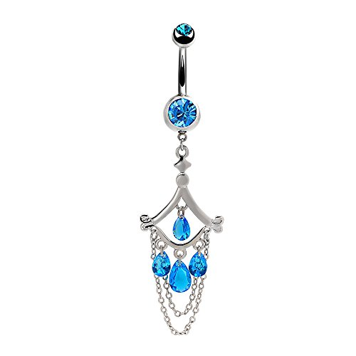 Mutreso Belly Navel Ring Surgical Steel Teardrop Crystal Sapphire Chandelier Dangle Curved Barbell Bananabell Piercing