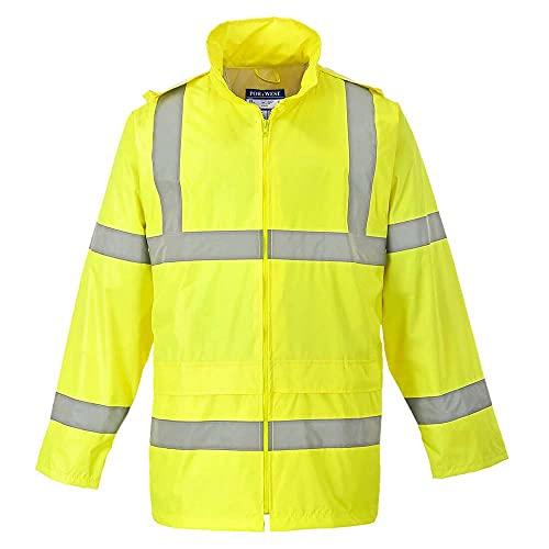 Portwest Waterproof Rain Jacket, Lightweight, Yellow, X-Large