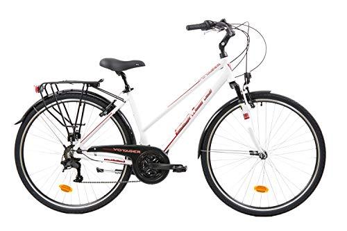F.lli Schiano Voyager Bicicleta Trekking, Womens, Blanco-Rojo, 28