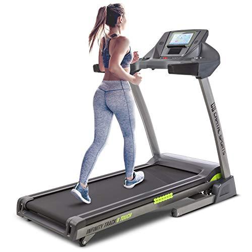 Capital Sports Infinity Track 6.0 - Tapis Roulant, 5.5 HP, WiFi, Schermo Touch TFT da 9', Ventilatore Integrato, USB, AUX, Fino a 18 km/h, Pendenza Fino al 15%, Grigio
