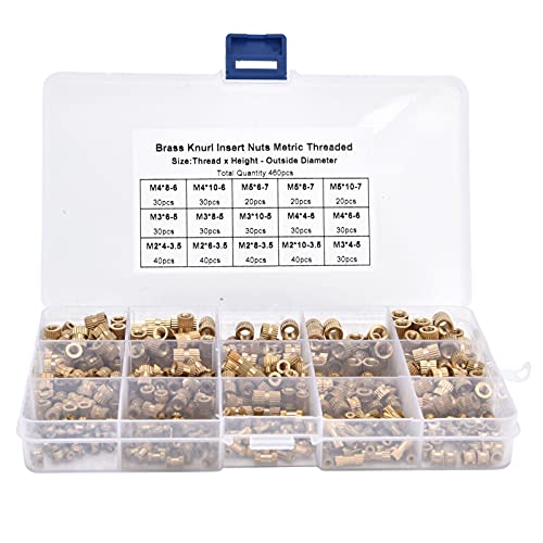 460PCS M2 M3 M4 M5 Knurled Nuts Female Thread Brass Threaded Insert Embedment Assortment Kit for Furniture Electrical and Most Project