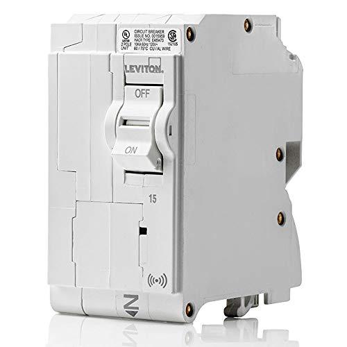 Leviton LB215-S 15 Amp, 2-Pole Plug-on Smart Standard Branch Circuit Breaker, 120 VAC, White