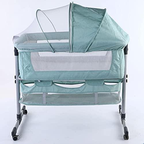 El material es cómodo, suave y seguro, el favorito Cama de cuna de bebé, cama para bebé móvil Portátil Costura plegable Cama grande de metal con mosquitero Bolsa de almacenamiento de cesta de