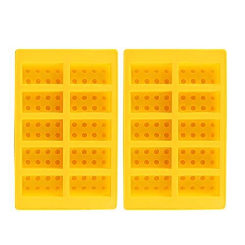 Delaman Plateau à glaçons en Silicone, 2Pcs Jaune 10-Grid Block Ice Cubes Moule Silicone Ice-Making Mould DIY Drinking Tools for Fours Lave-Vaisselle Congélateurs