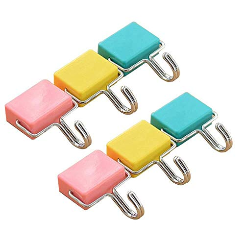 Shineus 6 ganci magnetici multiuso da cucina resistenti ganci magnetici per chiavi, cappotto, frigorifero e porte, rosa pastello, giallo, blu