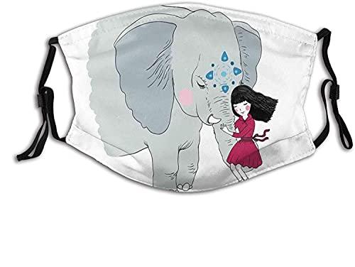 KINGAM Cómoda máscara resistente al viento, niña sentada en el tronco de un elefante con simple diseño de mandala en azul, decoración facial impresa para mujeres y hombres adultos