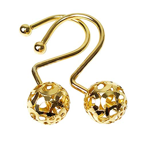 Chictie Gold Shower Curtain Hooks Rings,Set of 12 Brass Decorative Shower Curtain Hooks,Bling Metal Rustproof Shower Hangers Rings for Bathroom Curtains Rods Hollow Ball Design
