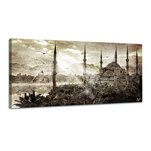 Arjazia Cuadro Islam Mosquita de Estambul – Cuadro árabe – 80 x 40 cm y 120 x 60 cm – Marrón – Impresión sobre lienzo de alta resolución – Lienzo tensado sobre un marco de madera (120 x 60 cm)