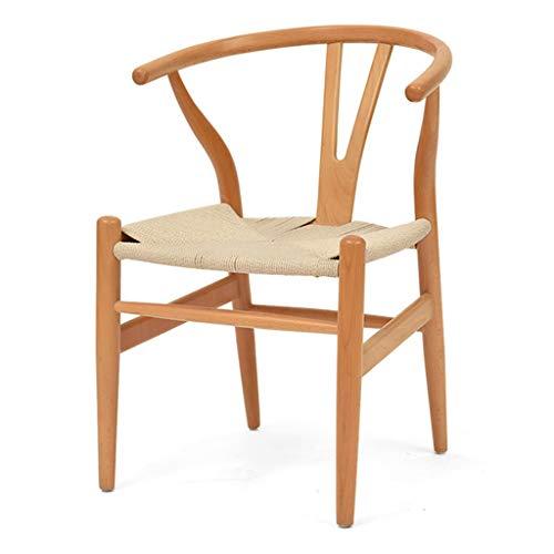Esszimmerstühle Massivholz Wishbone Chair Rattan Armchair Y Chair mit starkem Lederseil Webprozess Sitz und ergonomischer Rückenlehne für Home Kitchen Living Room