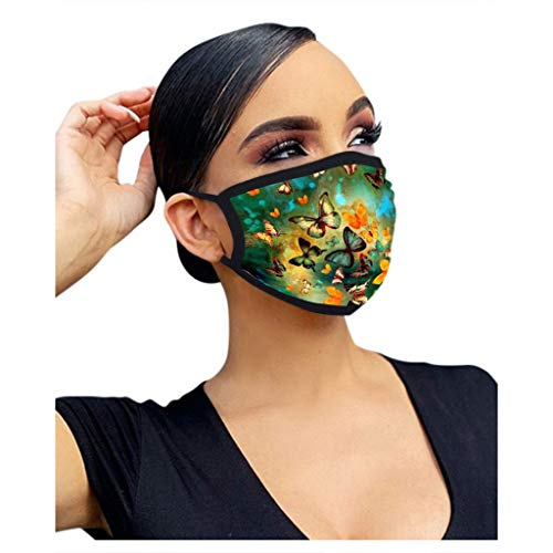 LUCKME 5 Stücke Unisex Mundschutz mit Schmetterlingsdruck Waschbar Wiederverwendbar Baumwolle Mund und Nasen Mundbedeckung und Nasenschutz Halstuch