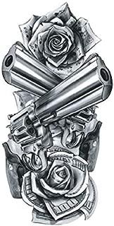 SanerLian Waterproof Temporary Fake Tattoo Stickers Grey Gun Rose School Set of 5